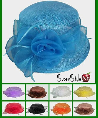 Small Brim Derby Hat Sinamay Fashion Church Flower Bow Design Kentucky