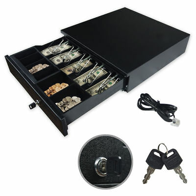 Cash Drawer Register Metal RJ-11 Key-Lock W/ Bill & Moveable Coin Trays POS Prin