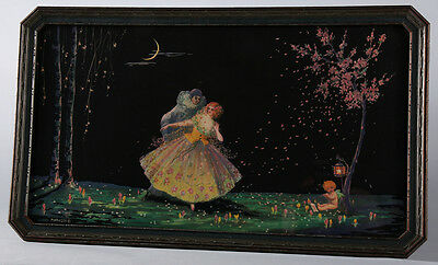 Antique Mary Gold Art Deco Fantasy Print Courting Couple Under Finger Nail Moon