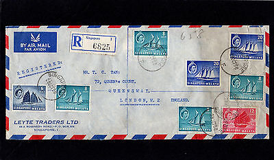 Singapore Malaya 1958 Registered Postal History Cover To London With Cds Postmrk