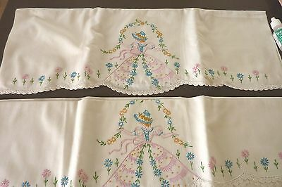 Vintage Set Southern Bell Embroidered W/ Crochet Pillow Case In Pinks