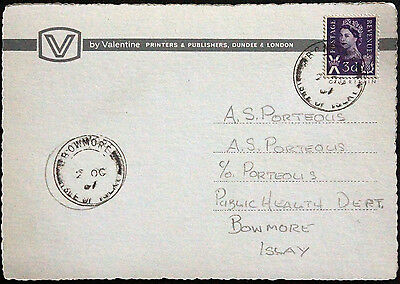 Scotland Isle Of Islay Bowmore 1967 Double Circle Pmks On Bowmore Ppc