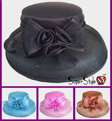Bow Hat Sinamay Flower Design Church Kentucky Fashion Rose Derby