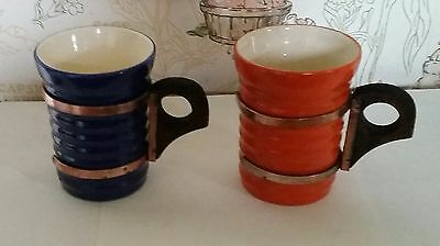 Vintage Rare 1930s Ribbed Bauer Ring Ware Pottery Wood & Copper Handled Cups Mug