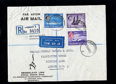 Singapore Malaya 1959 Registered Postal History Cover To England & Cds Postmarks