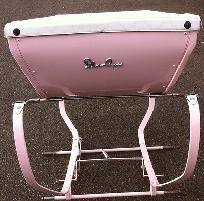 Dolls Silver Cross Pink Oberon Coach Pram Body Liner And Chassis Vgc