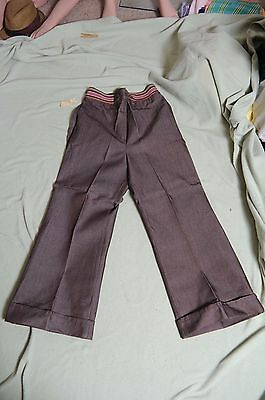 Vintage '70s NOS Brown Denim Growing Girl bell bottom high waist pants 16 1/2