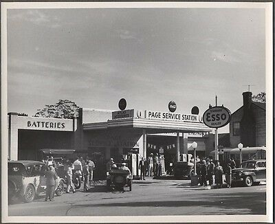 II Vintage Photo 1941 Ford Classic Cars Esso Gas Station Coca Cola Sign 776887