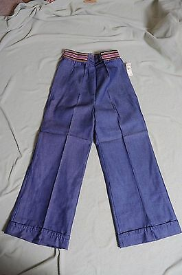 Vintage '70s NOS blue Denim Growing Girl bell bottom high waist pants 16 1/2