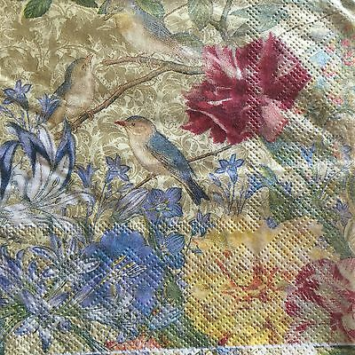 2 Paper Napkins Decoupage Floral Birds Nature's Song Beverage Craft Punch