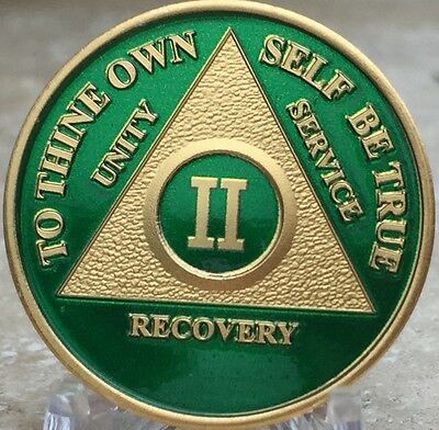 2 Year AA Medallion Green Gold Plated Alcoholics Anonymous Sobriety Chip Coin II