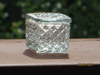 6 vintage Square Open Salts with lids in Diamond Pattern