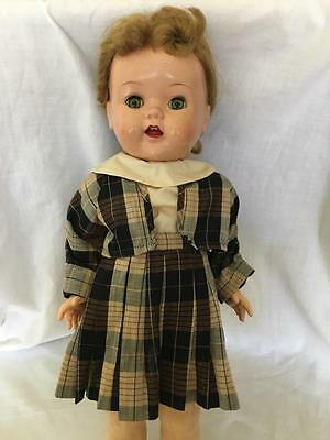 """SAUCY WALKER Ideal DOLL 16"""" high w 2 + outfits 1950s she cries! Sleep Eyes"""