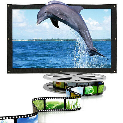 60-150 Inch 16:9 Home Movie Electric Projection Screen Matte White Projector EB