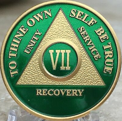7 Year AA Medallion Green Gold Plated Alcoholics Anonymous Sobriety Chip Coin