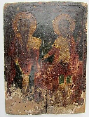 ANTIQUE 19th CENTURY GREEK ICON OF SELECTED SAINTS
