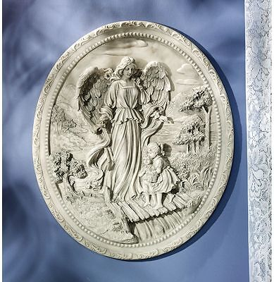 "26"" Young Children's Guardian Angel High Relief Wall Plaque Sculpture"