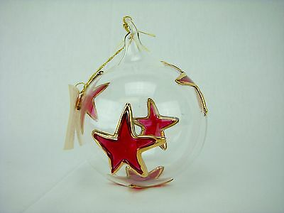 VIETRI Glass Christmas Ornament Gold and Red Star Handblown
