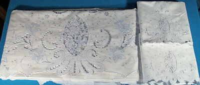 MADEIRA SHEET SET 1920's UNUSED CUTWORK & FLORAL EMBRODERY PR. CASES TAGS