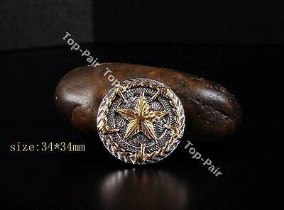 5PCS 34*34mm Western Gold Silver Plated Texas Star Saddles Rope Side CONCHOS SET