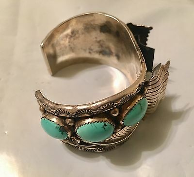 Native American Indian Watch Bracelet Silver & Turquoise Signed GM 101 Grams