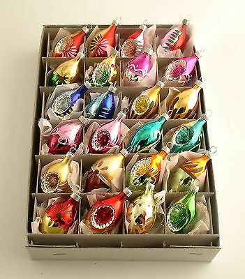 Glass Christmas Ornaments Box Teardrops Indents