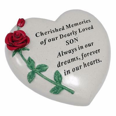 Large Son Red Rose Heart Stone Graveside Memorial Scroll Ornament DF17405H
