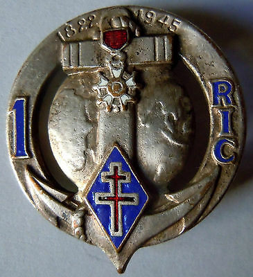 Insigne 1° RIC Régiment  Infanterie Coloniale Drago Paris ORIGINAL dos lisse