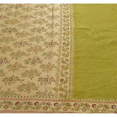 Sanskriti Antique Vintage Saree 100% Pure Silk Hand Beaded Woven Fabric Premium