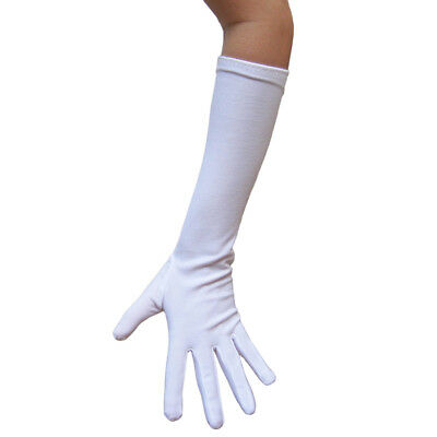 Long Elbow Length White Costume Gloves ~ HALLOWEEN THEATRICAL PROM DANCE PARTY