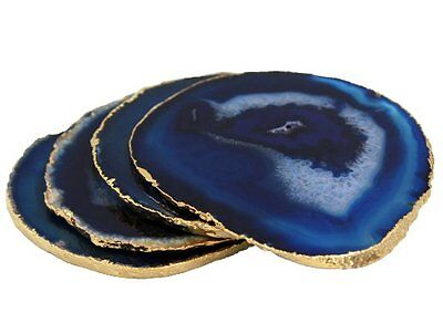 Blue Agate Coasters Set of 4 with Gold Plated Edges