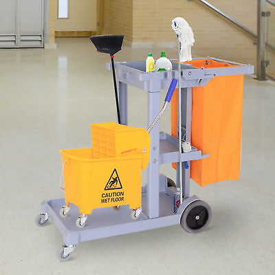 Janitorial Cleaning Cart Rolling Janitor Ultility Cart w/ 3 Shelves & Vinyl Bag