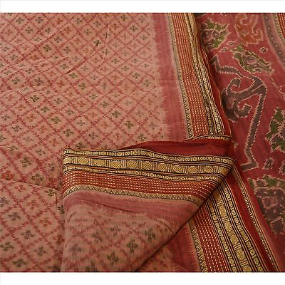 Sanskriti Vintage Indian Saree 100% Pure Cotton Painted Pink Craft Fabric Sari