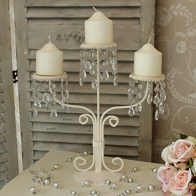 Cream crystal candelabra droppers dining table wedding shabby Frnech chic candle