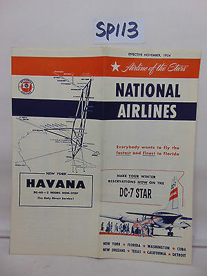 National Airlines Dc-7 Star Timetable 1954 New York To Havana Cuba + More Rare