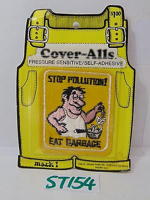 Vintage 1970's Embroidered Patch Cover-Alls 70's Nos Stop Pollution Eat Garbage