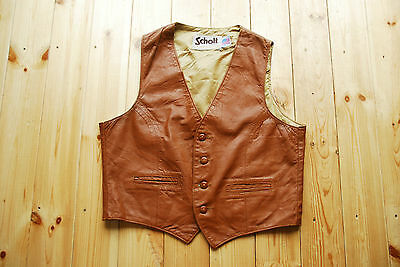 Vintage Brown Tan Leather Waistcoat Vest by Schott NYC 44""