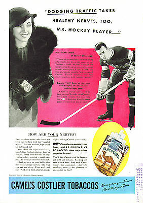 New York Rangers Bill Cook for Camel Cigarettes ad 1934