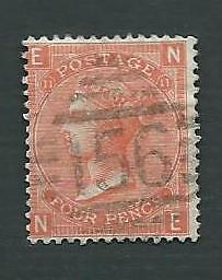 1869 QV. 4d VERMILION STAMP, PLATE 11, SG.94, USED IN IRELAND