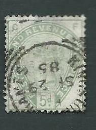 1884 QV, 5d DULL GREEN STAMP. SG.196, SMALL THIN, GOOD USED