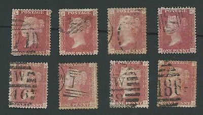 1858 QV. 8 x DIFFERENT 1d RED PLATE No. STAMPS. SG.43. GOOD USED