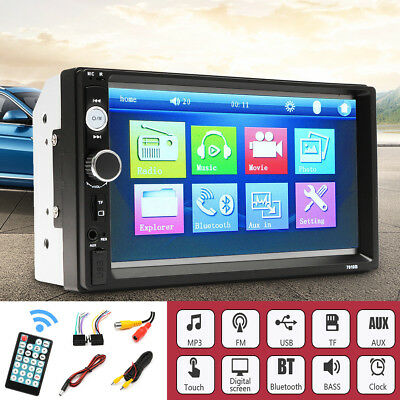 7'' 2 Din Car Stereo FM Radio MP5 TFT Touch Screen Player Camera 1080p Bluetooth