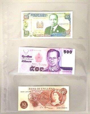 Clear Plastic Banknote Album Sheets Sleeves Storage Folder Holds 3 Notes