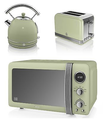 NEW Swan Kitchen Retro Set -GREEN Microwave,1.7L Dome Kettle & 2 slice Toaster