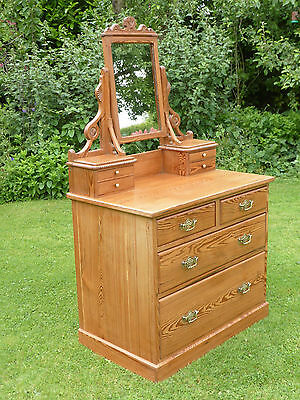 Antique Victorian Pitch Pine Dressing Table with Mirror + Drawers. Original!