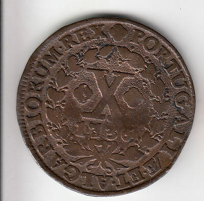Portugal 10 Reis 1736 Copper Scarce      112D               By Coinmountain