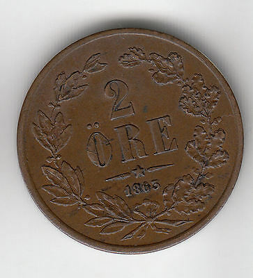 Sweden 2 Ore 1863 Copper Scarce     117D              By Coinmountain