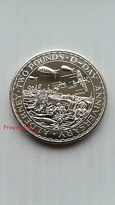 1994*unc*alderney £2 Two Pound D-Day Anniversary Coin-Km#7A