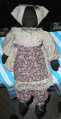 Black Lady W/ Apron In Old Fashioned Dress - Cloth Doll