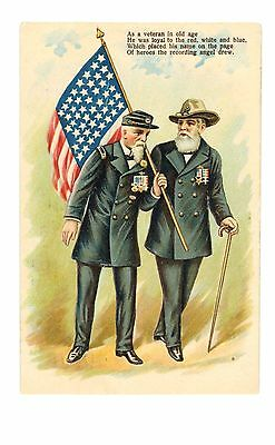 Embossed Card 2 Old Civil War Veterans Out for a Walk pm 1909